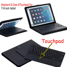 Universal Dechatable Bluetooth Keyboard w/ Touchpad & PU Leather Case Cover For Dell Venue 8 7840 Venue 8 7000 8.4 inch