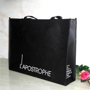 Image 1 - Hurtownie 500 sztuk/partia wielokrotnego użytku eco włókniny torba na zakupy niestandardowe logo torba na drobiazgi promocyjne sklep spożywczy tkaniny TNT torba darmowa wysyłka