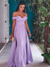 Verngo Light Purple Stain Evening Dress Off The Shoulder Long Mermaid Suknie Wieczorowe