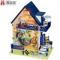 Home Decoration Crafts DIY Doll House Large Wooden Dolls House 3D Miniature Model Kit Dollhouse Furniture