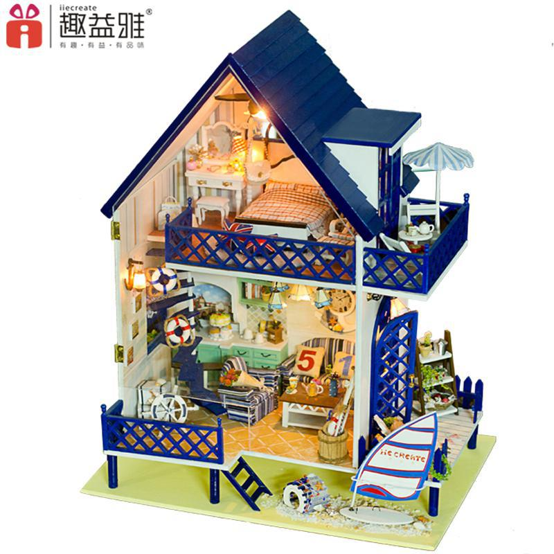 Home Decoration Crafts DIY Doll House large Wooden Dolls House 3D Miniature Model Kit  dollhouse Furniture Room LED Light 130-16 diy wooden handcraft miniature provence dollhouse voice activated led light
