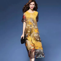 2018 ethnic style loose printing mid calf women dresses summer plus size Chinese style o neck mom dress M XXXL 217