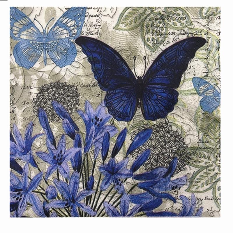 20 Vintage Napkin Paper Tissue Purple Flower Blue Butterfly Handkerchief Decoupage Wedding Birthday Party X-mas Serviettes Decor