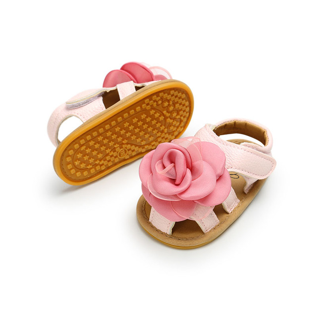 2019 Cute Flower Baby Girls Summer Sandals Infant Toddler Shoes Solid Sole Baby Girls First Step Shoes Bebe Moccasins PU Leather 2