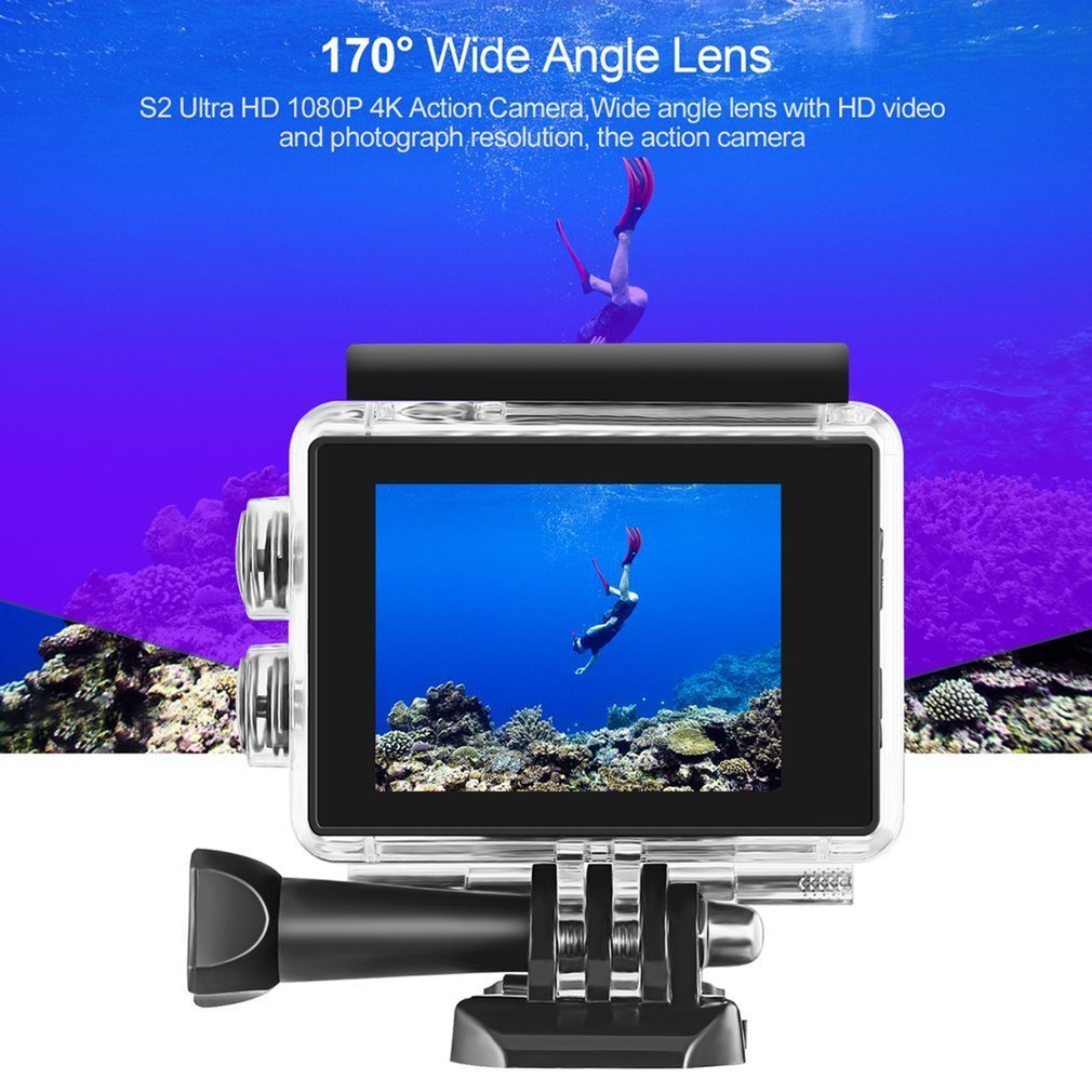 цена на S2 WiFi Action Camera HD 1080P 4Kx2K 2.0 inches LCD Screen 170 Lens Waterproof Sports Camera Outdoor Diving Bicycle Camcorder
