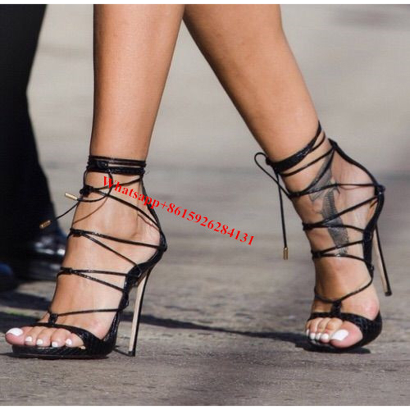 d1b000b25 Sexy Black/Gold Thigh High Riri Strappy Leather High Stiletto Heels Sandals  Celebrity Style Open Toe Cross Tied Women Shoes-in Women's Sandals from  Shoes on ...