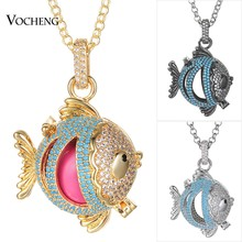 4 Colors Zircon Stone Fish Shape Angel Locket Necklace Cubic Zirconia Angel Ball Necklace with Stainless Steel Chain VA-976(China)