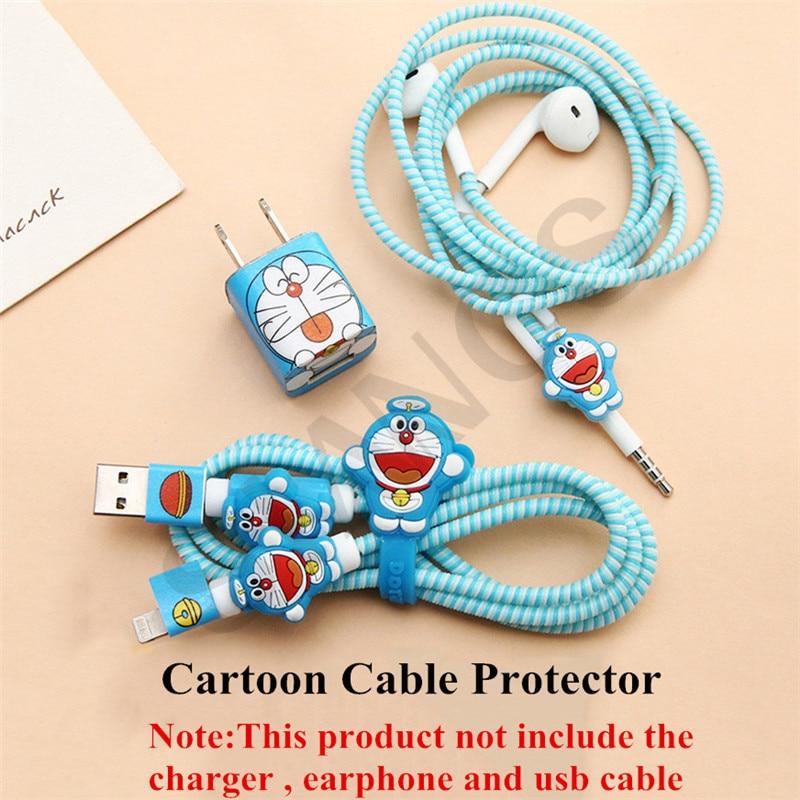 Bonito dos desenhos animados do Fone de ouvido Organizador Fio Enrolador de Cabo USB Carregador Titular Case Capa Shell Protetor Adesivo Para Apple IPhone 5 6 7
