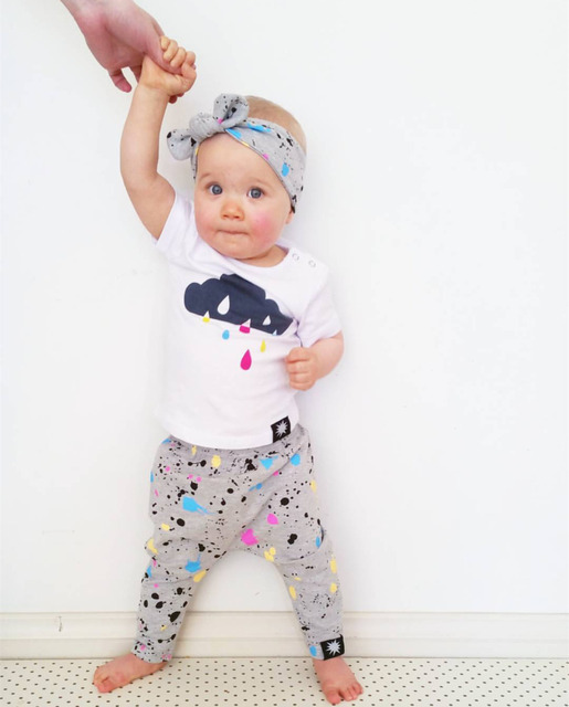 3df5d243b36 2018 Summer Newborn Toddler Baby Girl Clothes Cute Raindrop T-shirt+Colorful  Dots Pants+Headband Infant Baby Girl Clothing Set