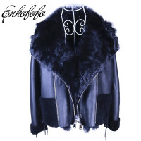 New Winter Loose Warm Real Fur Coat Bat Sleeved Shearling Double Faced Genuine Leather Fur Jacket