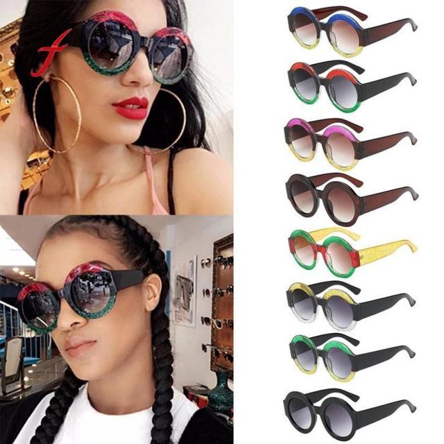 973638d1fc2 Fashion Womens Man Sunglasses Big Frame Brand Designe Round Shape Rapper  Vintage Retro Eyewear Unisex Sun