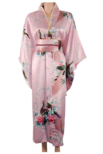 Розовый традиционных японских женщин шелковый атлас кимоно ropa мухерес japonesas юката платье павлин один размер бесплатная доставка H0040-B #