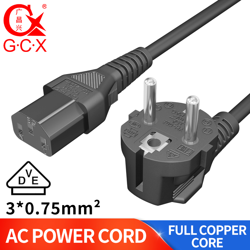 250V 10A 1M EU 3-Prong 2Pin AC Power Cord Adapter Cable for Laptop PC Desktop