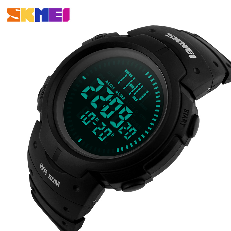 купить SKMEI Outdoor Men Compass Sports Watches Hiking LED Electronic Digital Watch Man Chronograph Wristwatches Relogio Masculino недорого