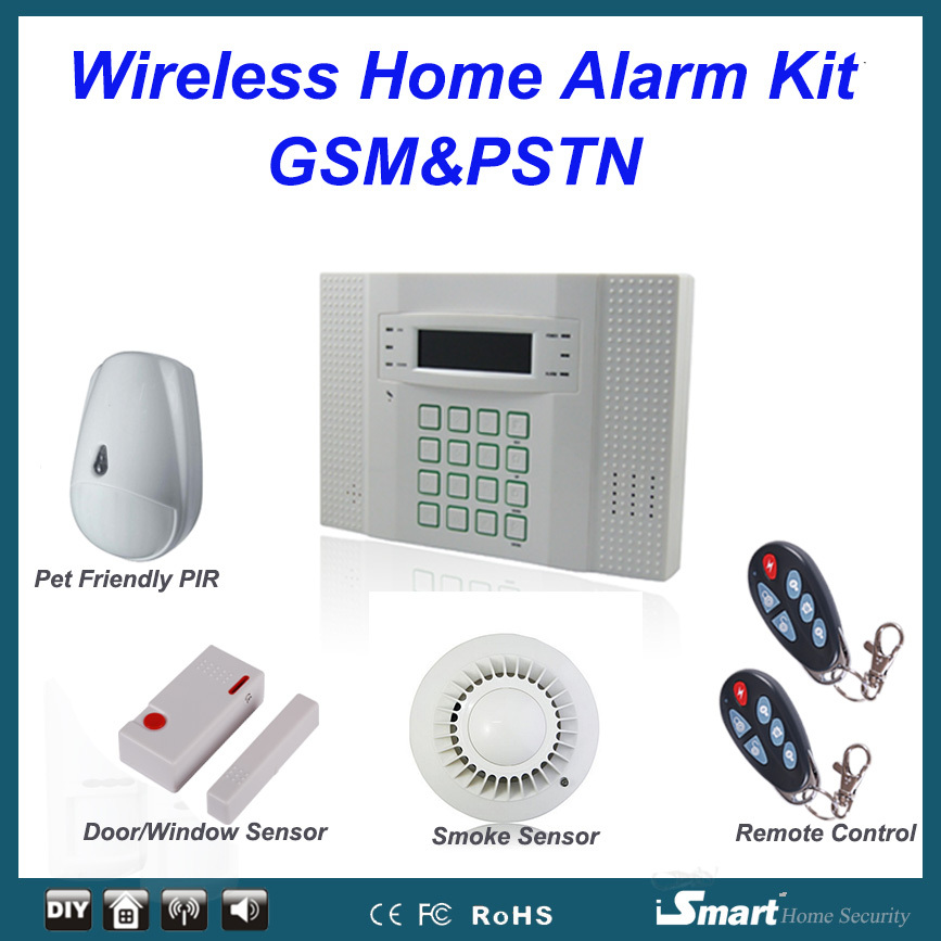 32 Wireless and 8 Wired Zones GSM PSTN Intruder Alarme Systems with Pet Friendly Motion Detector Smoke Sensor