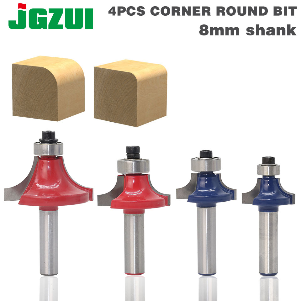 4pcs/set High Quality Roundover Bit With Bearing 8mm Shank Dovetail Router Bit Cutter Wood Working