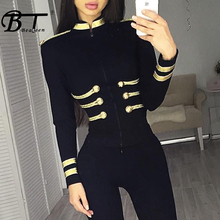 Beateen 2018 Women Bandage Long Sleeve Beading Bodycon Turtleneck Tops Fashion New Arrival For Lady