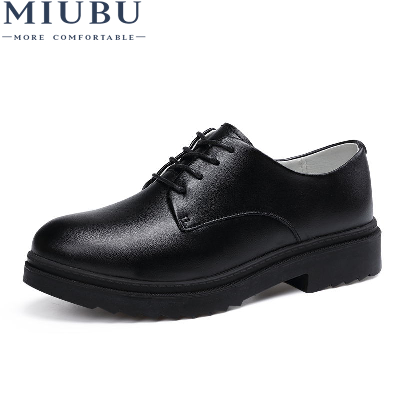 MIUBU High Quality Women Oxfords Flats Platform shoes Genuine Leather Lace up Round Toe Creeper White Loafers Shoes For Women