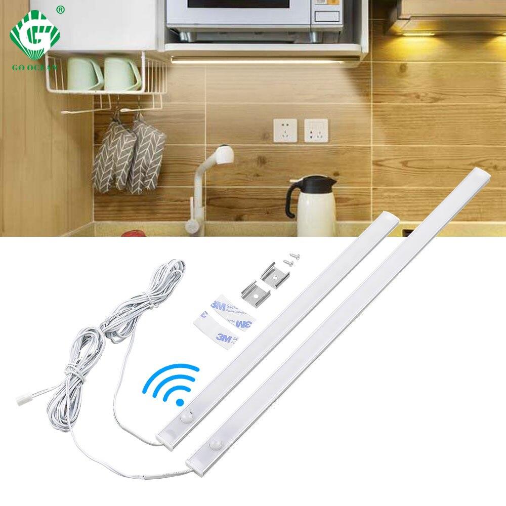 PIR 12V Aluminnum LED Under Cabinet Light Body Sensor Kitchen Wardrobe Night Lighting Lamps Bar Strip Lights