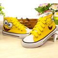 Hello kitty niños shoes spongebob de la historieta niños niñas pintado a mano zapatillas de lona kids shoes minions navidad pikachu shoes