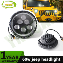 Pair 7 inch  Round 60W Hi/ Low Beam with  angel eye LED JK headlight light  off road light