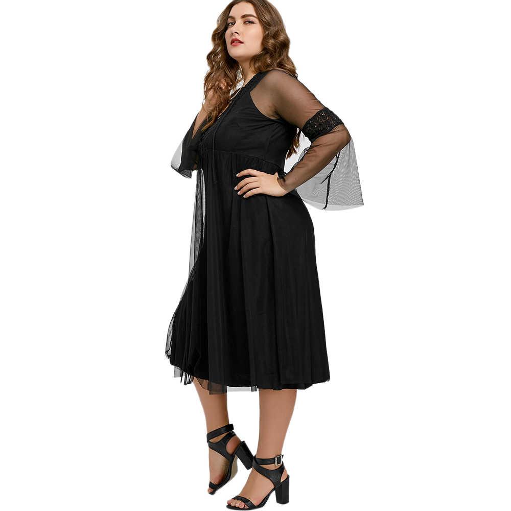 Wisalo плюс размер новейшая мода миди с ассиметричным низом платье для женщин осень 2019 3/4 рукав кружево черный свитер платье 5XL