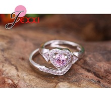 JEXXI Romantic Fashion Pink Cubic Zirconia Diamond Wedding Rings Set For Women 925 Sterling Silver Engagement Proposal Rings