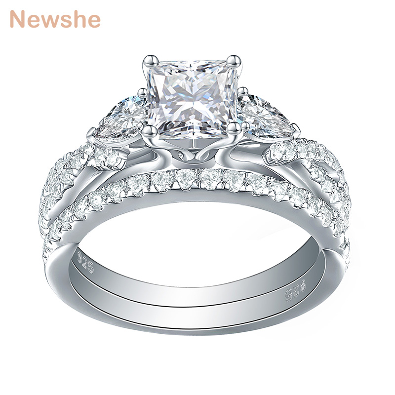 0fe1936219cb Newshe 2 Pcs Wedding Ring Set Trendy Jewelry 925 Sterling Silver 2.3 Ct  Princess Cut AAA CZ Engagement Rings For Women