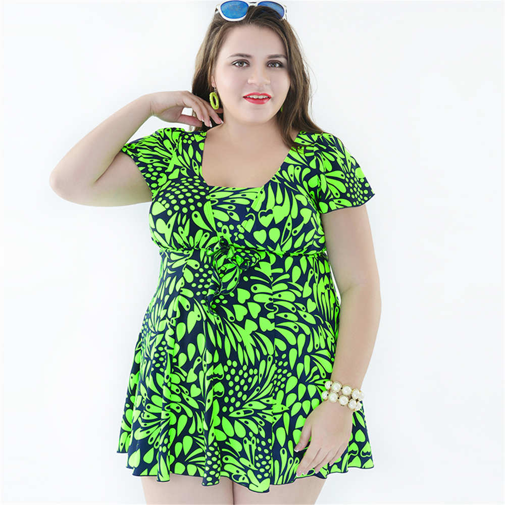 Plus Size One Piece Swimsuit 2017 Women Dress Swimwear With Sleeves Floral Monokini Push Up Bathing Suit 4XL-8XL Swimsuit Shorts plus size one piece swimsuit skirt 2017 dress swimwear women push up bathing suit floral large swim suit for fat women 4xl 8xl