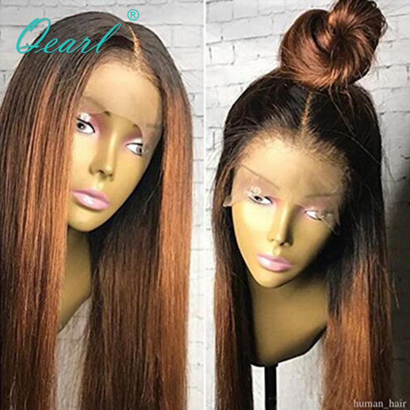 Qearl 1B Dark Roots Ombre Color Human Hair lace Front Wig With Baby Hair Straight Remy Hair 130% Pre-Plucked Real Front Lace Wig