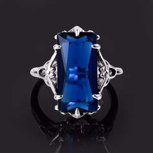Image 5 - 100% Handmade Real 925 Sterling Silver Rings For Women Classic Big Lab Sapphire Stone Anniversary Ring Fine Jewelry Best Gift