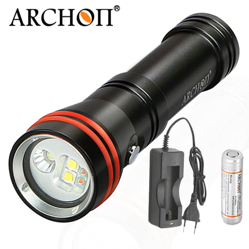 ARCHON D15VP Mini 2 in 1 Diving Underwater Flashlight Video Spot Light CREE LED White Red Lamp For 18650 battery pzcd pz 16 skull style creative 2 led mini red flashlight keychain white 2 x ag3 included