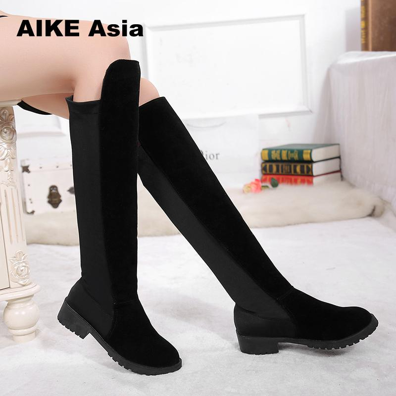 2018 New Hot Women Boots Autumn Winter Ladies Fashion Flat Bottom Boots Shoes Over The Knee Thigh High Suede Long Boots #1918
