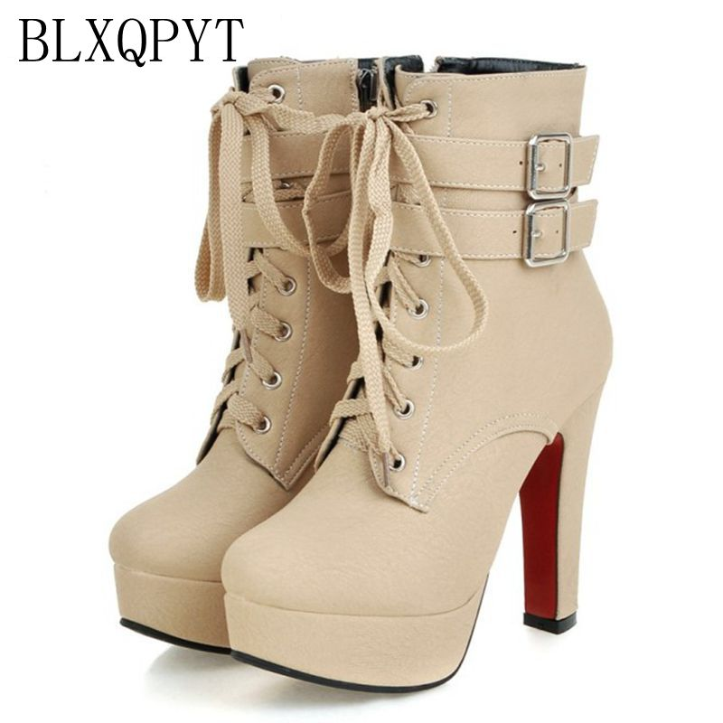 BLXQPYT Big size 33-47 short Boots shoes woman Mujer Fashion Ankle Boots Sexy high Heels Spring Autumn Winter Women Shoes  X-2