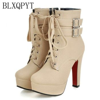 цена на BLXQPYT Big size 33-47 short Boots shoes woman Mujer Fashion Ankle Boots Sexy high Heels Spring Autumn Winter Women Shoes  X-2