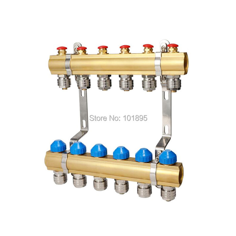 Brass 2 7 Wayout DN25 Floor heating Water Separator Valve