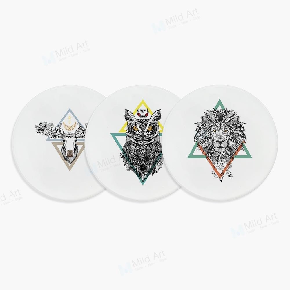 Indian Animals Tattoo Deer Lion Owl Wolf Cool Design Geometric Ceramic Bar Coaster Gift Creative Kitchen Accessories Pad Mat Set