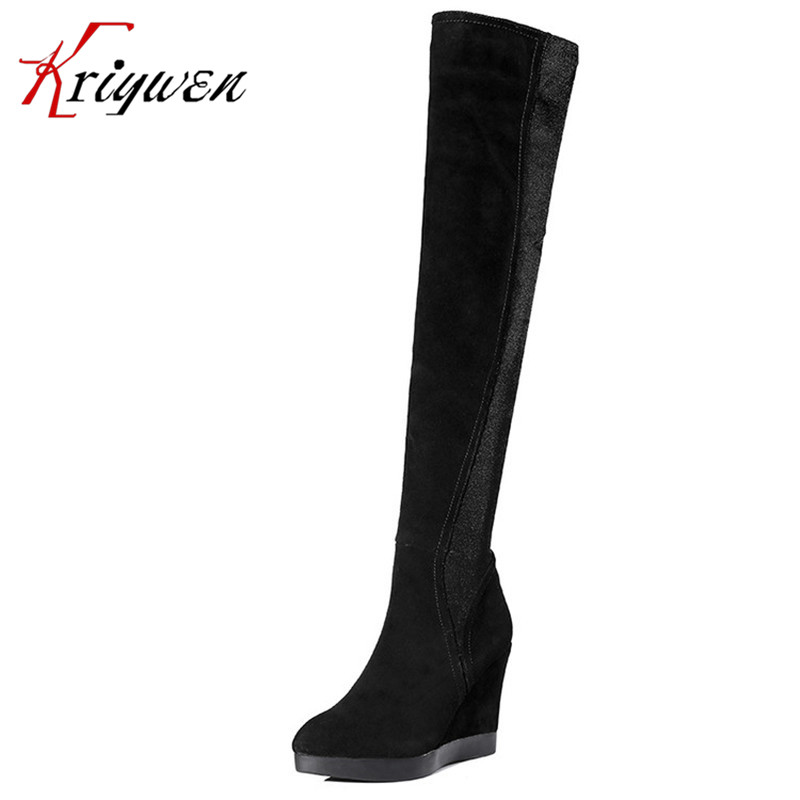High Quality Cow soft Leather short Plush Inside Women Zipper Cow Split+Stretch Fabric wedges Women over the knee thigh Boots