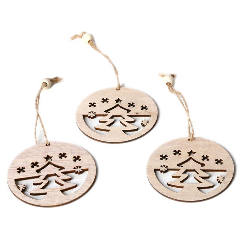 3 pièces/ensemble Vintage arbres de noël pendentifs avec des perles de corde ornements en bois bricolage artisanat suspendus arbre fête décor cadeau