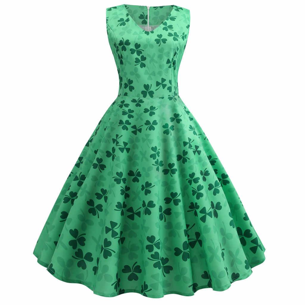 bdc0d361c St. Patrick Day Fashion women dress Women's Clover Sleeveless Evening Print  Party Prom Swing Dress