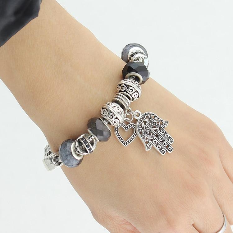 VIOVIA Fashion Jewelry Hamsa Hand Charm Bracelet Black Glass Charm ...