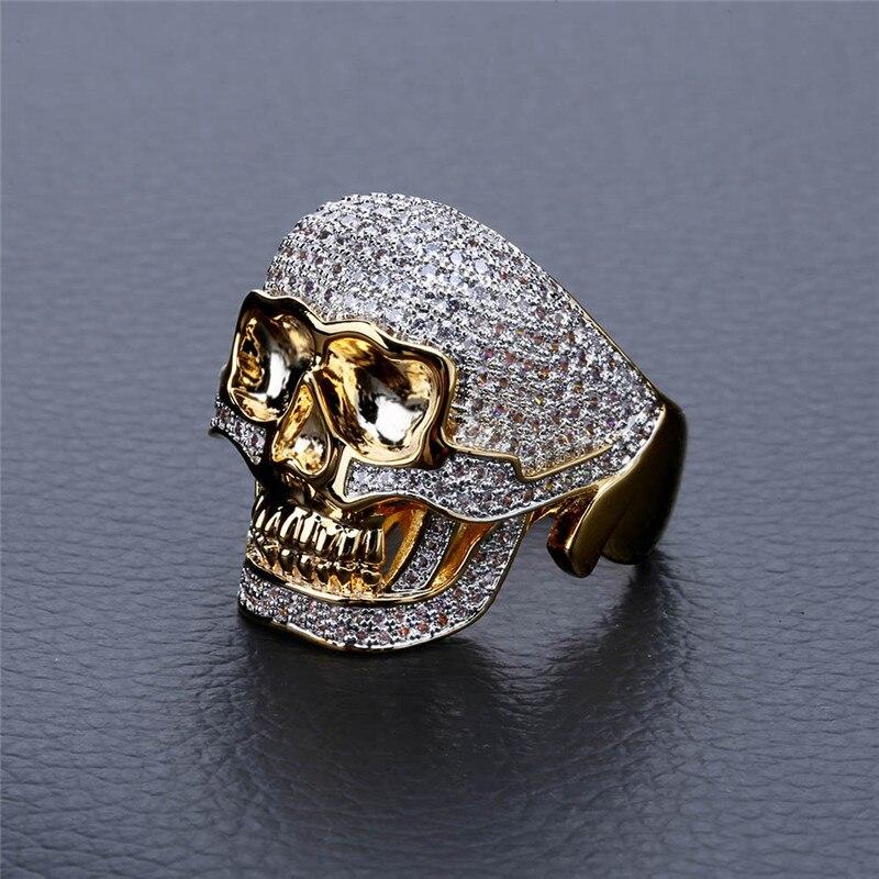 Personnalité rétro crâne hommes anneau dominateur micro incrusté zircon hipsters hip hop punk bijoux 7-11 taille