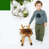 Nordic Animal Ottoman change shoes stool solid wood creative original small deer chairs children holiday home gifts