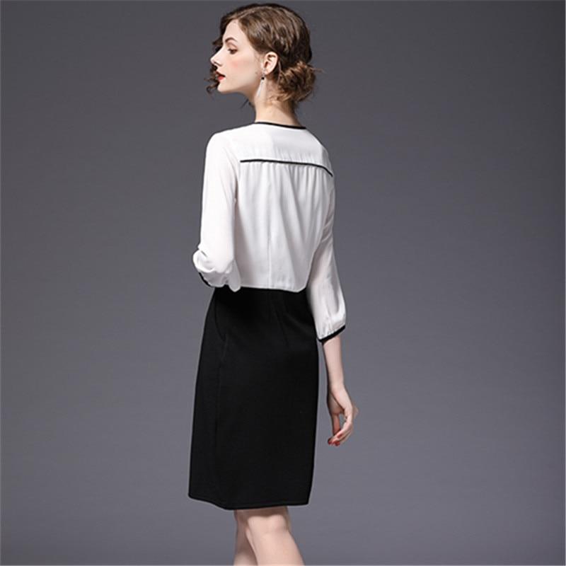 Été De Robes 2128 2018 Splice Nouveau Bowknot Élégant Mini Soie Black Femmes White Plus Femme Printemps Robe Mousseline Mode En Taille fbY6gy7