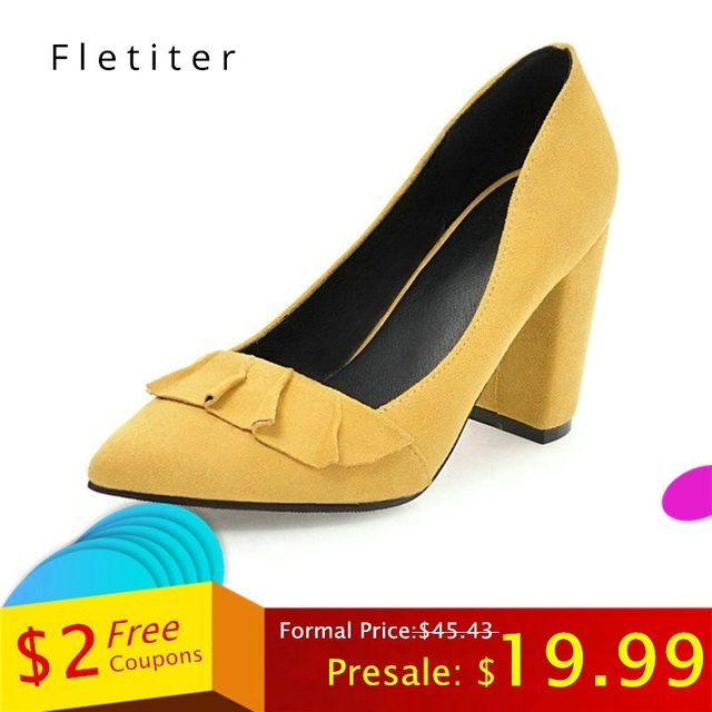 Women Pumps Ruffles Spring Autumn Shallow Pointed Toe High heel Shoes  yellow Flock Square Heels Pumps Ladies Shoes Plus size efb7467f0ca4