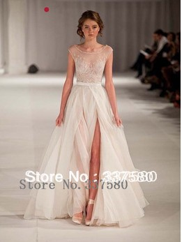 2014 hot online slit scoop beads sexy backless fomal for Maid of honor wedding dresses