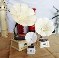 3 Sizes White Retro Iron Phonograph Model Metal crafts, Vintage phonograph Props Home Decoration Vintage Ornament SM123