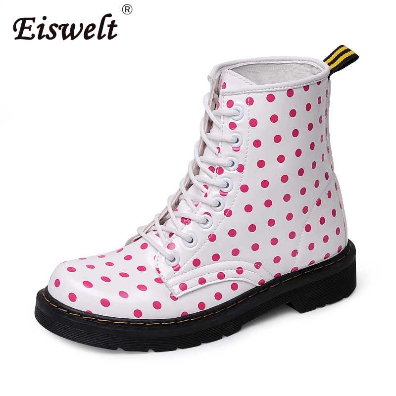 EISWELT Spring and Autumn Women Fashion Boots Ladies Dot Martin Boots Female Short Tube Shoes Thick with Women Fashion Boots spring and autumn female women short boots shoes martin boots motorcycle boots footwear high heel pumps sexy platform shoes
