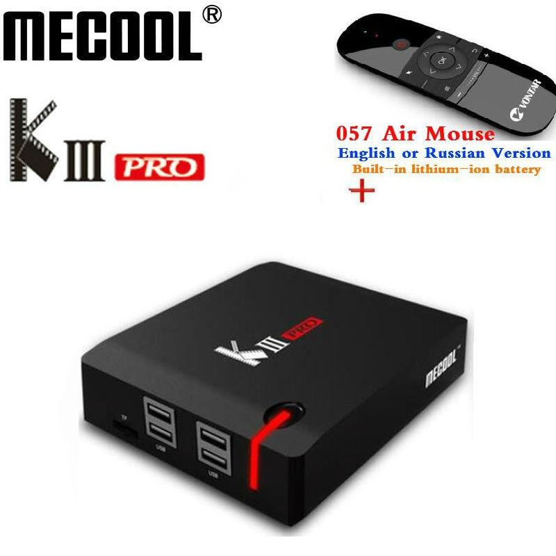MECOOL KIII PRO DVB-S2 DVB-T2 DVB-C Android 7.1 TV Box 4 K Combo NEWCAMD Biss chiave PowerVU 2.4/5 GHz Dual Wifi Media Player