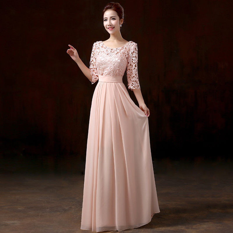 Vestido de dama de honra new Scoop neck lace chiffon half sleeve A Line pink royal blue lilac lime green champagne wedding guest